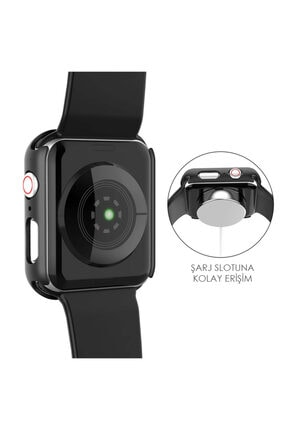 Apple Microsonic Watch Series 3 38mm Kılıf Matte Premium Slim Watchband Siyah 3
