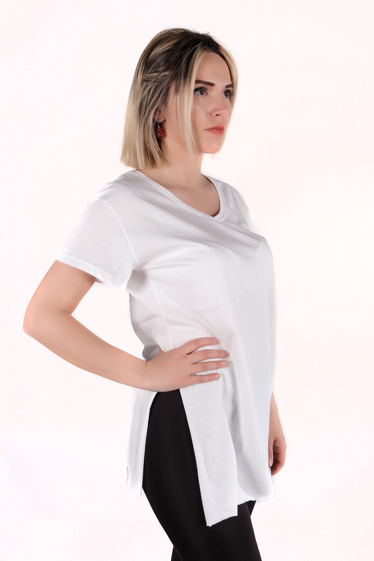 moda felinya Kadın Beyaz V Yaka Yan Yırtmaçlı Tunik Tshirt