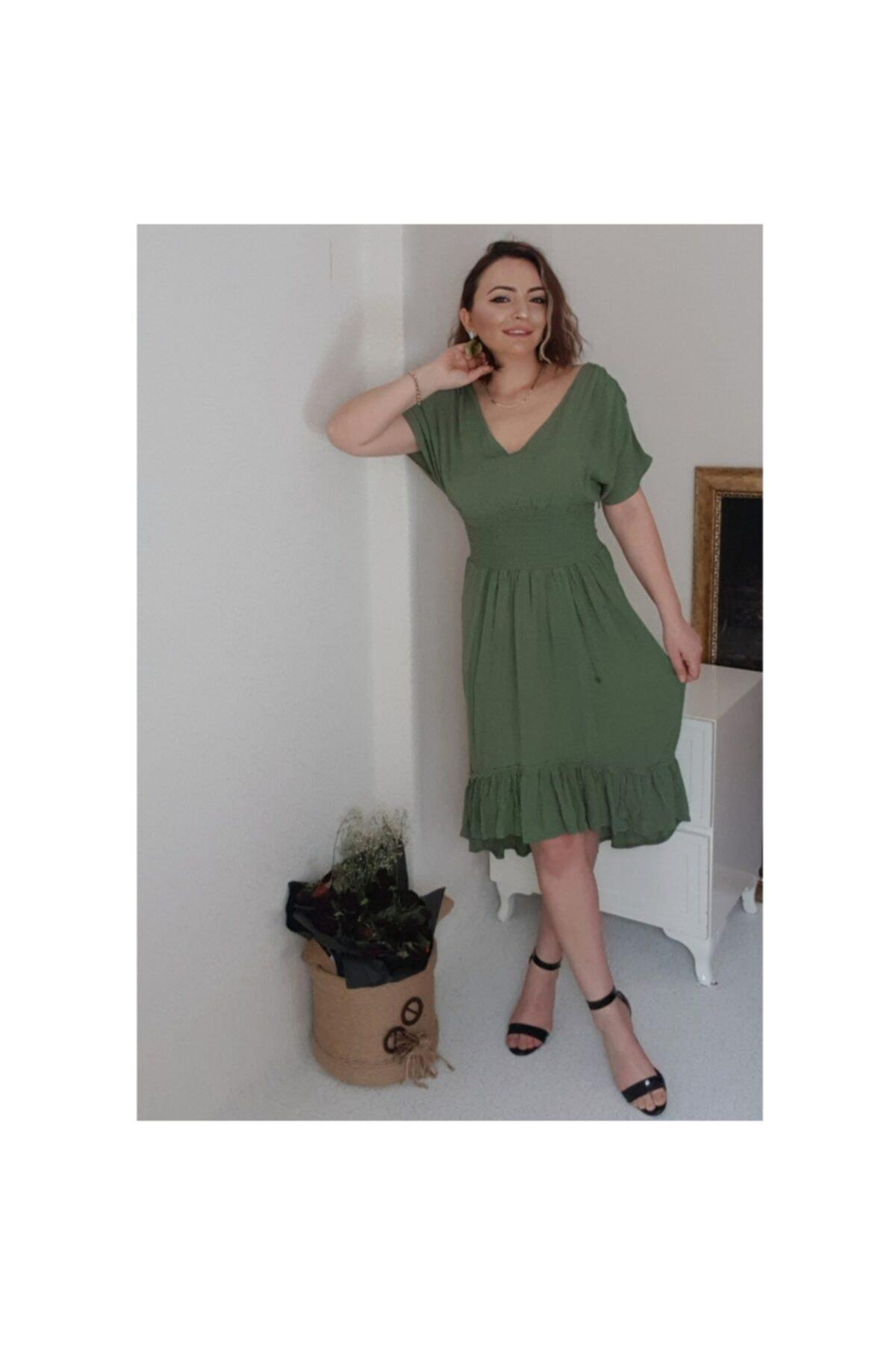 pacco butik Kadın V Yaka Beli Lastikli Krinkil Kumas Elbise