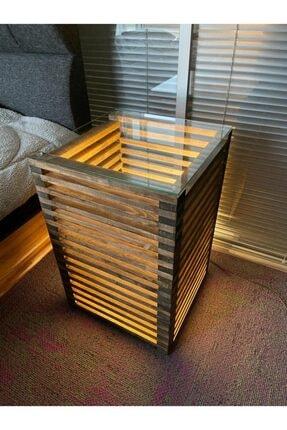 Pronto Reklam Pronto Dizayn Masif Ahşap Led Işıklı Komodin 30x30x60 cm Ceviz Renk 0