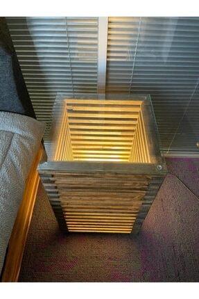 Pronto Reklam Pronto Dizayn Masif Ahşap Led Işıklı Komodin 30x30x60 cm Ceviz Renk 2