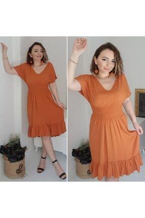 pacco butik Kadın Ön Arka V Yaka Beli Lastikli Elbise 1