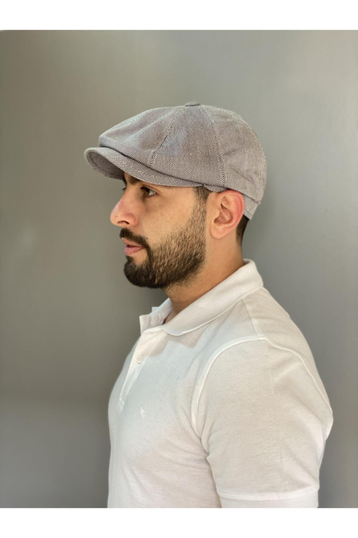 Yazlık Keten Beckham Model Ingiliz Kasket Şapka Beckham