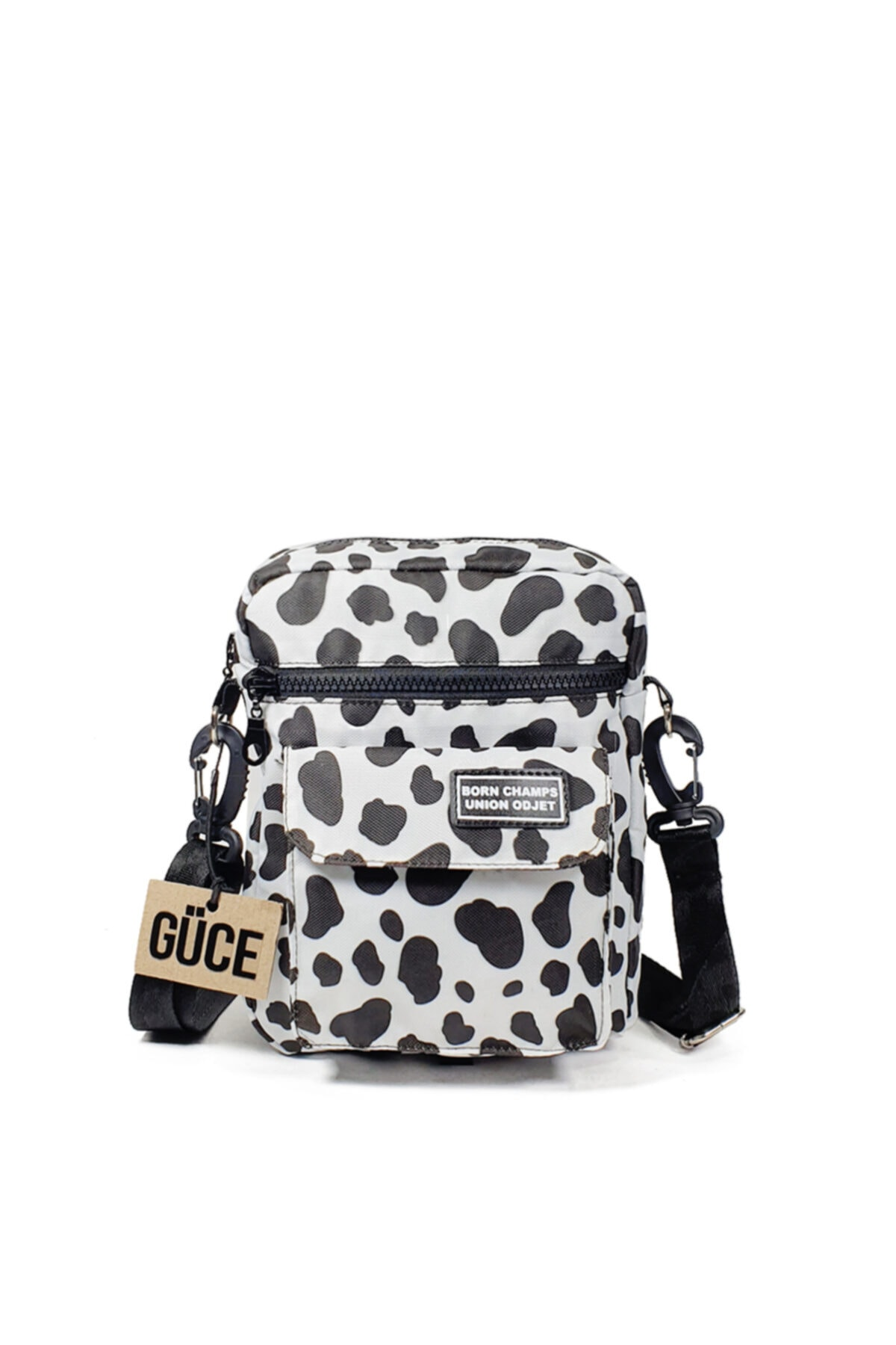 Siyah Beyaz Inekli Desenli Born Champs Yazılı Çok Gözlü Cross Bag Omuz Çantası Gc0140inek