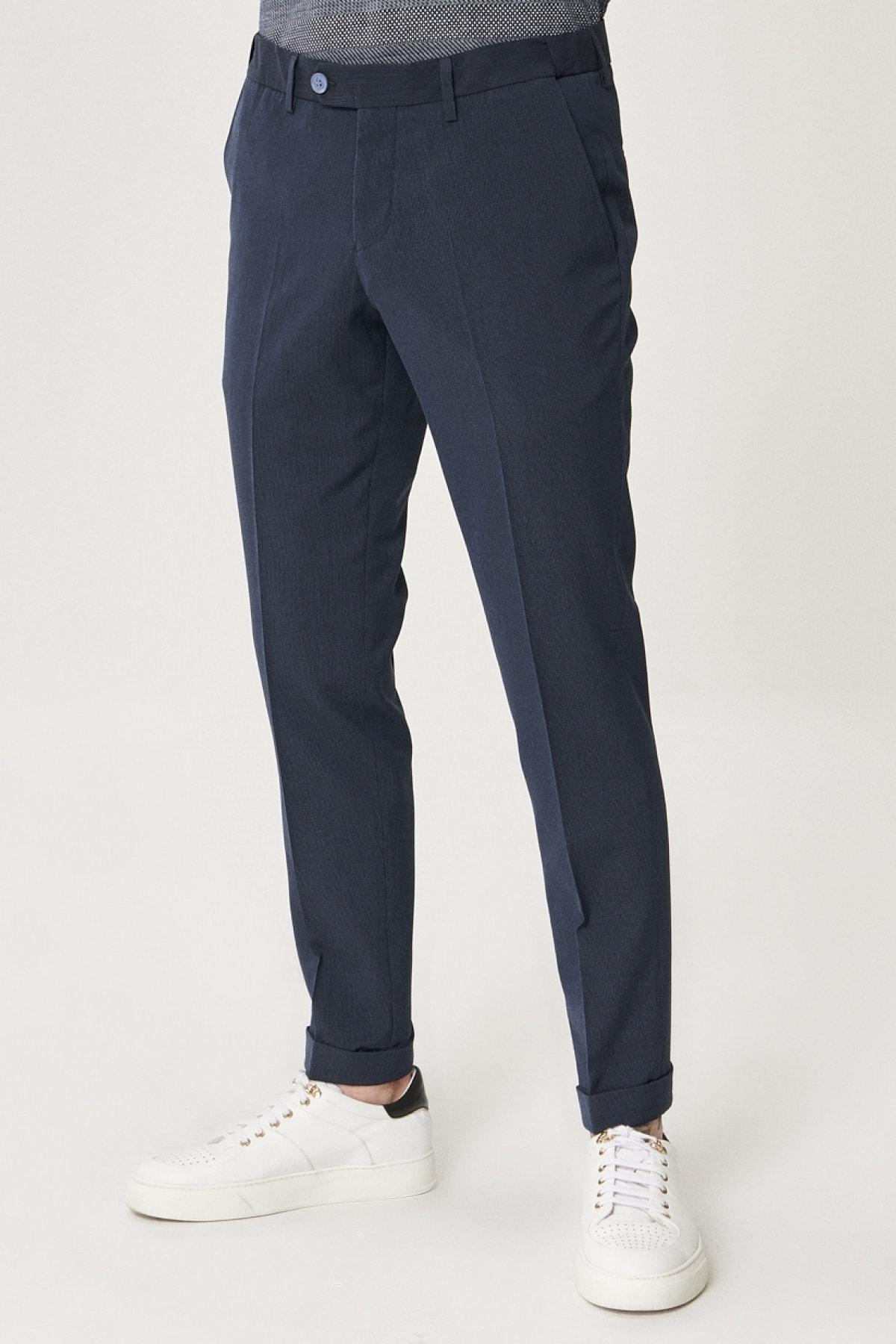 Erkek Lacivert Slim Fit Dar Kesim Yan Cep Casual Pantolon
