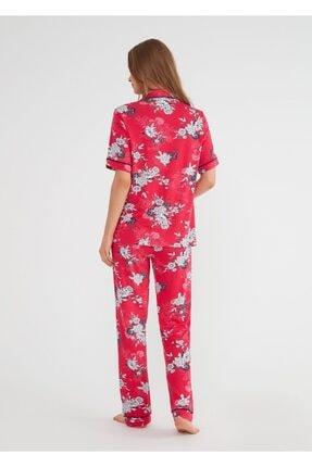 Suwen Kadın Kirmizi Baskili Felicity Maskulen Pijama Takımı 2