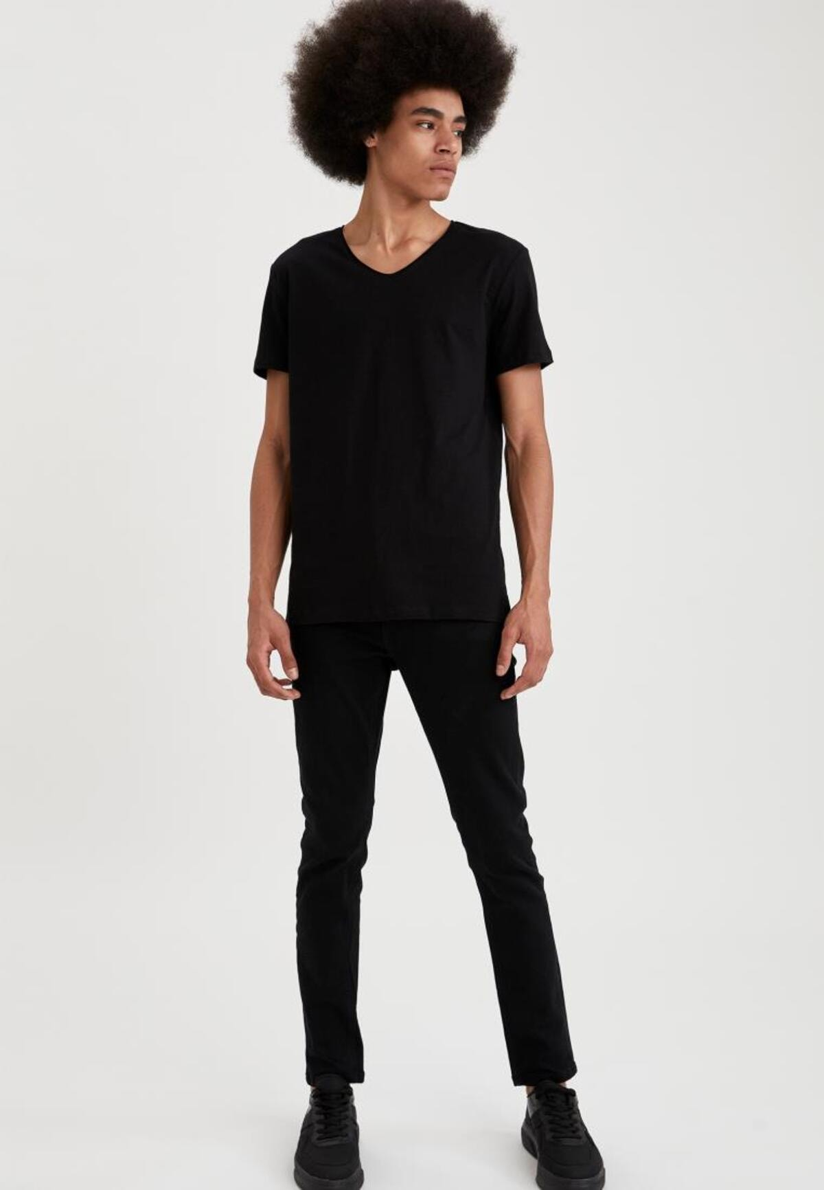 Defacto Slim Fit V Yaka Basic Kısa Kollu Siyah Tişört 1