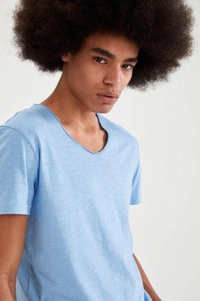 Defacto Slim Fit V Yaka Basic Kısa Kollu Mavi Tişört 2