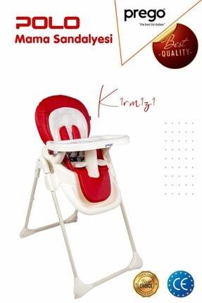Prego Kırmızı Polo Katlanır Mama Sandalyesi ve Altın Renk Biberon 250 ml 0