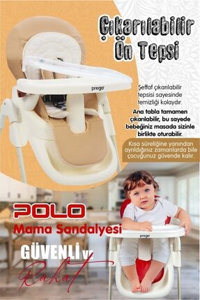 Prego Kırmızı Polo Katlanır Mama Sandalyesi ve Altın Renk Biberon 250 ml 4