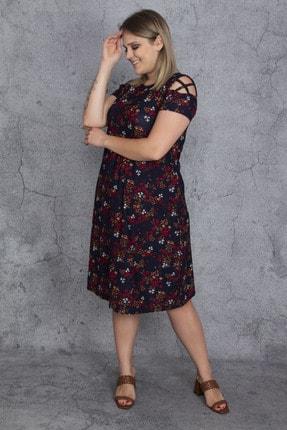 Şans Kadın Renkli Kol Detaylı Elbise 65N23907 0