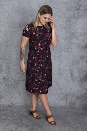 Şans Kadın Renkli Kol Detaylı Elbise 65N23907 1