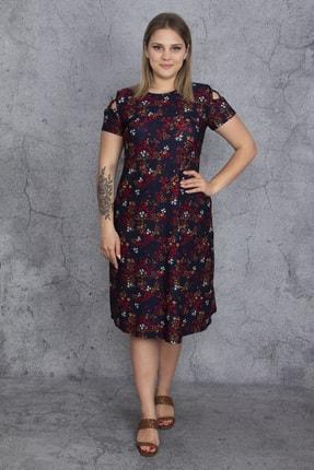 Şans Kadın Renkli Kol Detaylı Elbise 65N23907 3