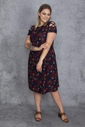 Şans Kadın Renkli Kol Detaylı Elbise 65N23907 4