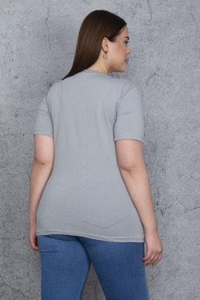 Şans Kadın Gri Taş Ve Baskı Detaylı Bluz 65N24019 2