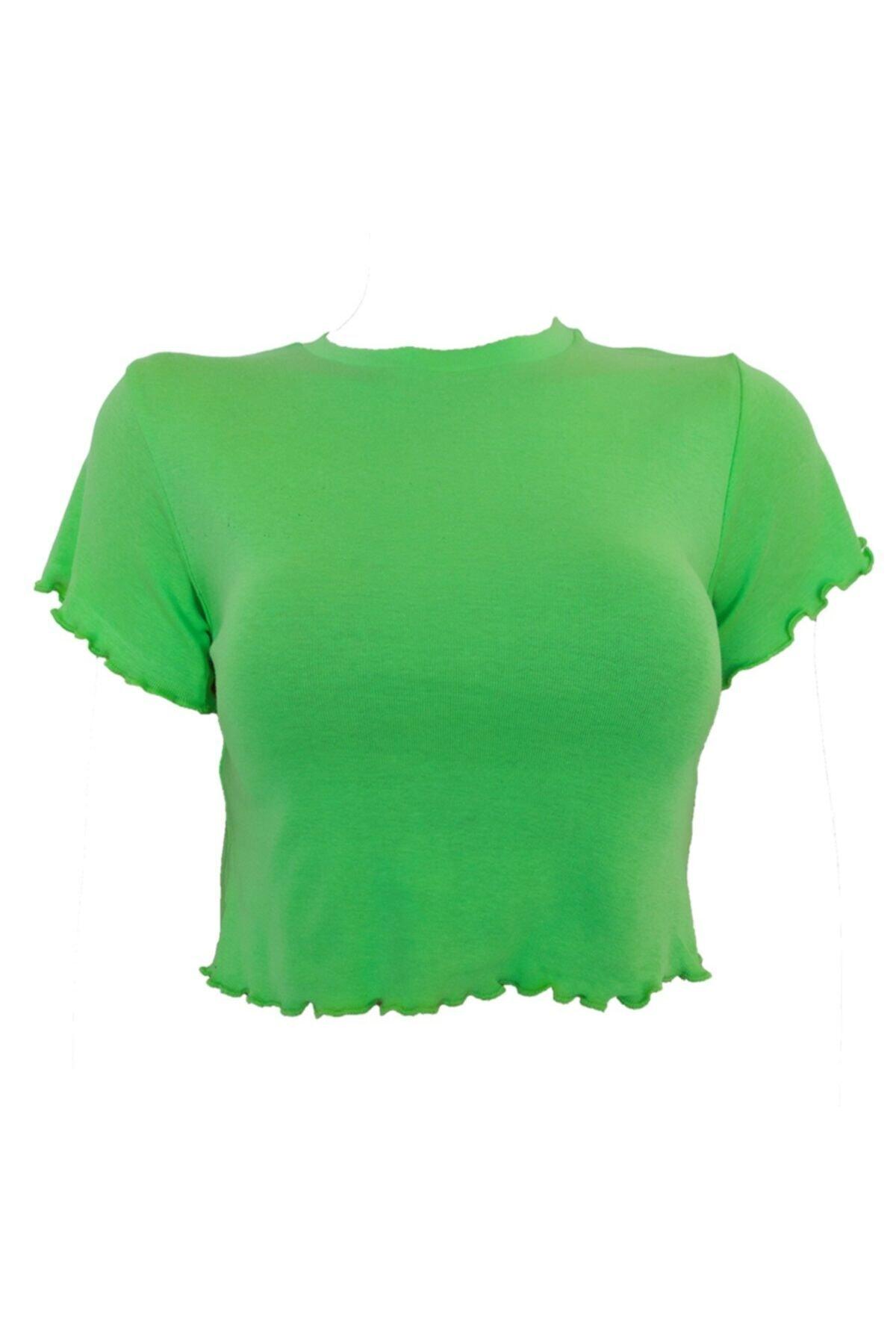 Kadın Düz Renk Yuvarlak Yaka Kısa Kollu Fırfırlı Crop T-shirt