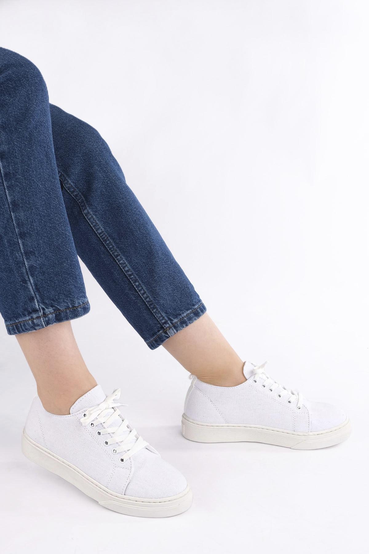 Marjin Kadın Sneaker Keten Spor Ayakkabı RulazBeyaz 1