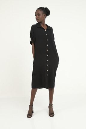 Kadın Siyah Önden Düğmeli Cepli Arka Kısmı V-yaka Detaylı Gömlek Elbise 2510372