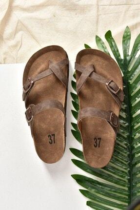 Fox Shoes Kadın Kahverengi Süet Parmak Arası Terlik K777613402 1