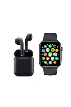 SmartWatch Teknonolojim Unisex Siyah Akıllı Saat T500 Airpods I12 Kablosuz Kulaklık Ikili 0
