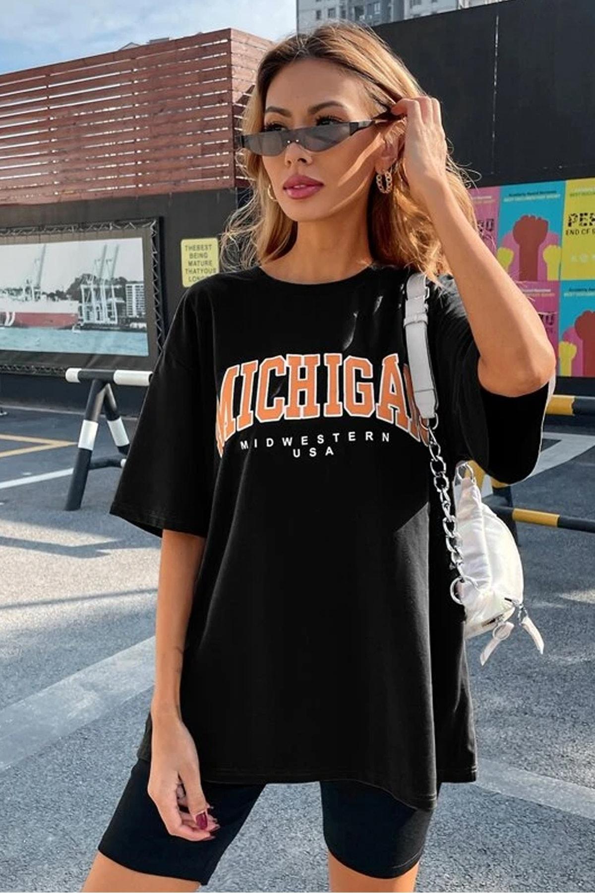 Kadın Siyah Oversize Michigan Baskılı T-Shirt
