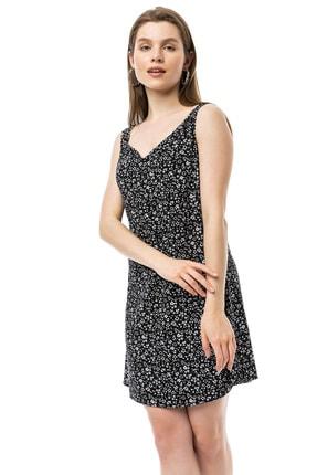 Kadın Siyah Beyaz Yazlık Viskon Elbise VMK