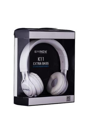 Syrox Kulak Üstü Mikrofonlu Aux Kablolu Kulaklık K11-beyaz Renk 0