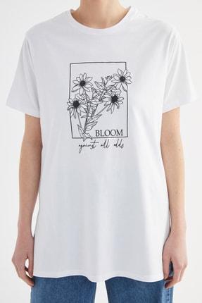 Trendyol Modest Beyaz Baskılı Örme T-Shirt-Tunik TCTSS21TN0275 3