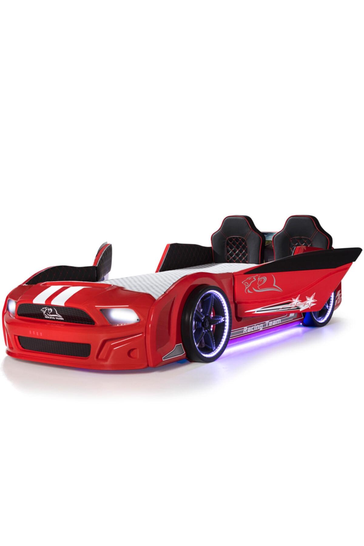 Arabalı Yatak, Full Ledli Kapıları Açılan Kırmızı Arabalı Yatak