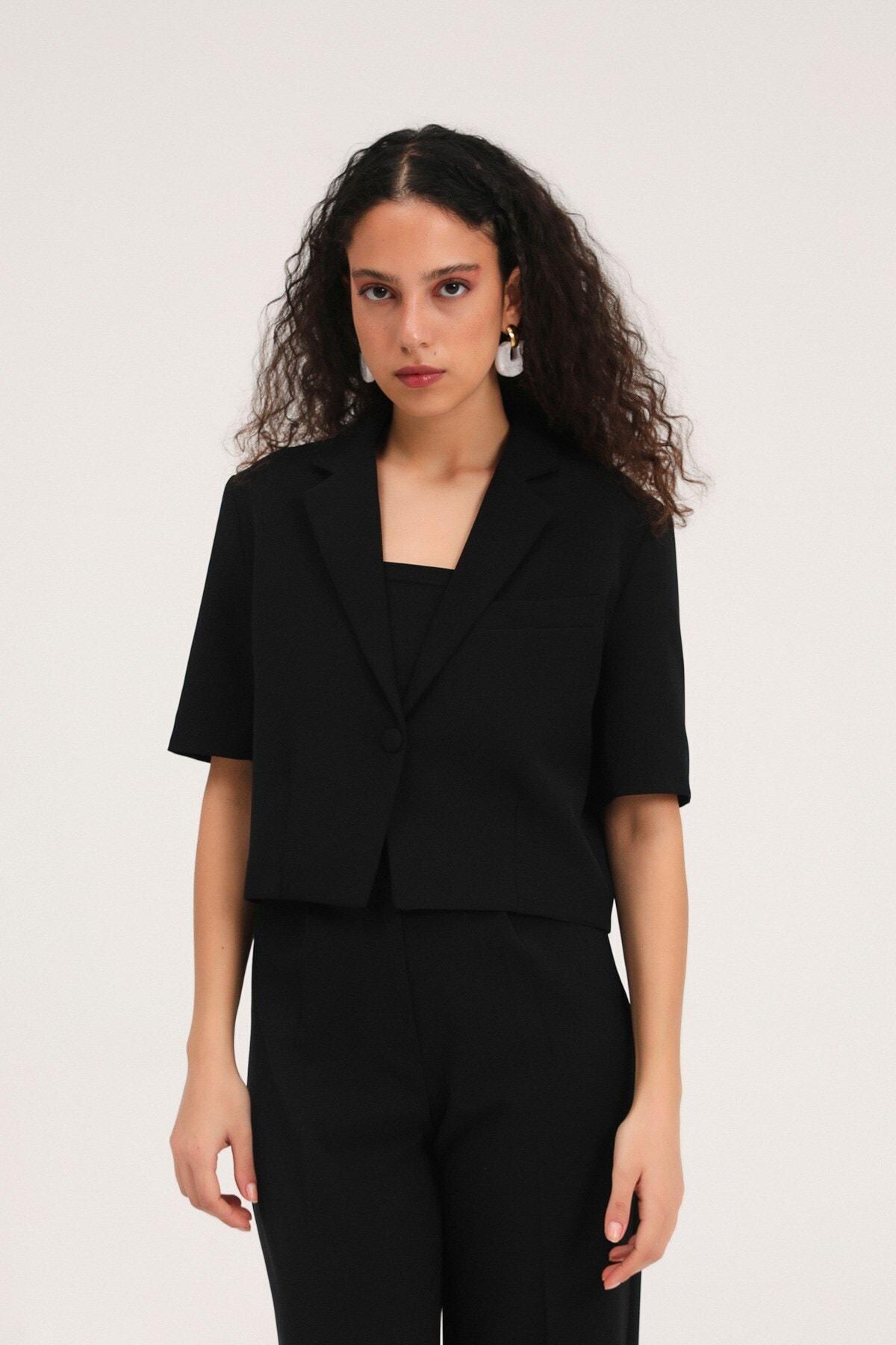 Kadın Kısa Kol Crop Blazer Ceket Siyah