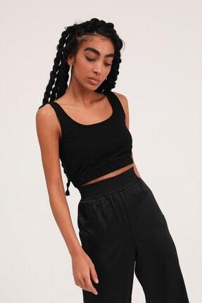 Quzu Kadın Siyah Kalın Askılı Crop Bluz 1