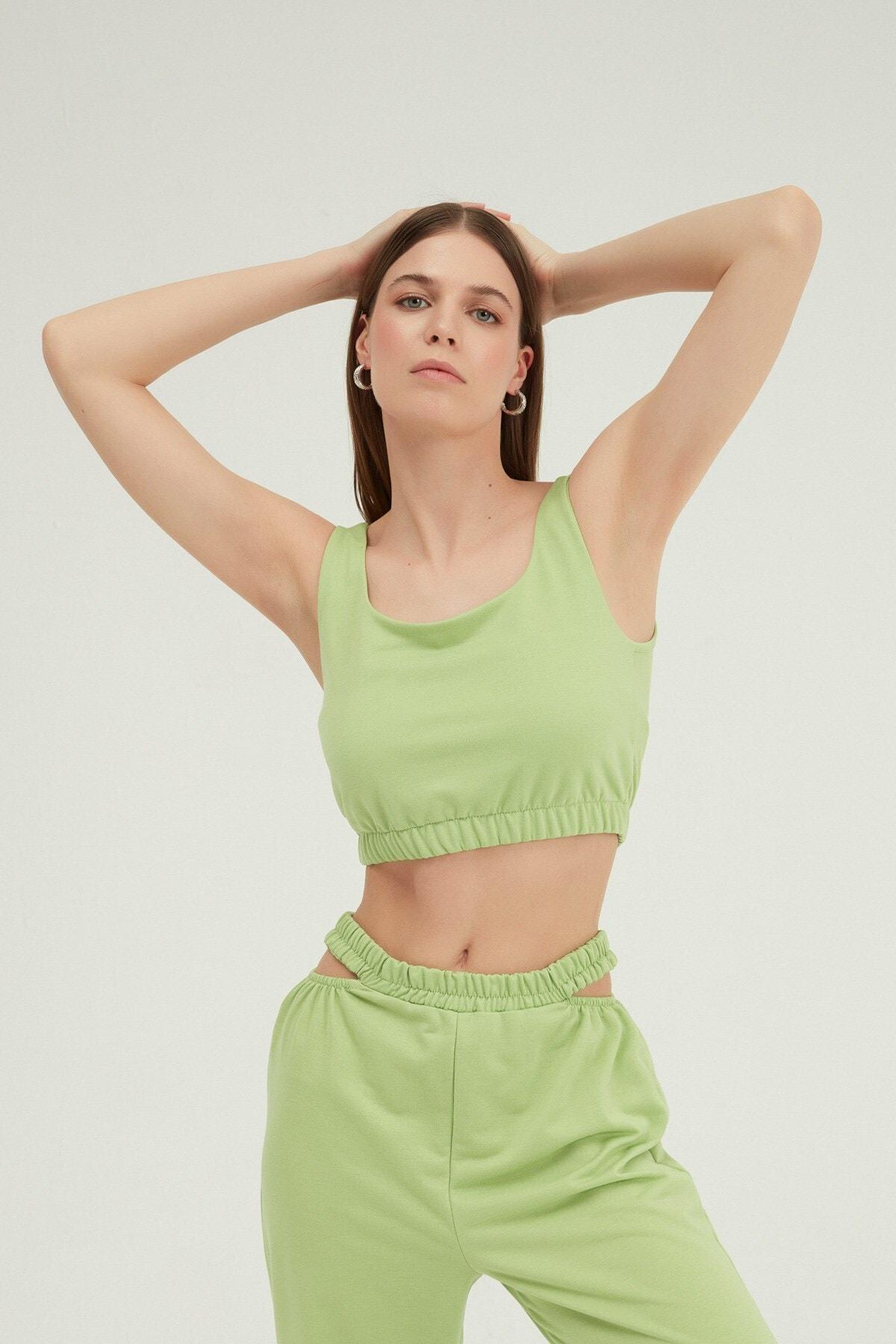 Kadın Yeşil Askılı Crop Bluz