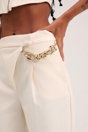Quzu Kadın Ekru Yüksel Bel Pantolon 3