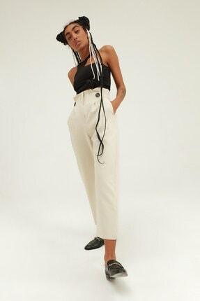 Quzu Kadın Düğme Aksesuarlı Yüksek Bel Pantolon Taş 1