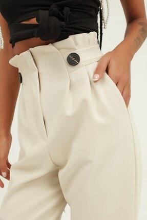 Quzu Kadın Düğme Aksesuarlı Yüksek Bel Pantolon Taş 3