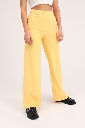 Quzu Kadın Sarı Bol Paça Kumaş Pantolon 2