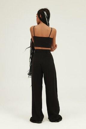 Quzu Kadın Siyah Yüksel Bel Bol Paça Pantolon 4
