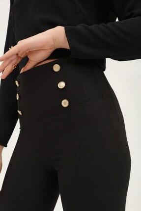 Quzu Düğme Aksesuarlı Yüksek Bel Pantolon 2