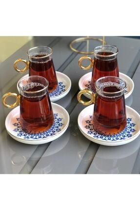 AROW 6'lı Porselen Tabaklı Kulplu Cam Çay Takımı 0