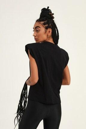 Quzu Kadın Siyah Vatkalı Kolsuz Basic Tişört 3