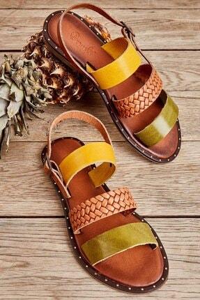 Bambi Yeşil/taba/sarı Kadın Sandalet L0685082603 0