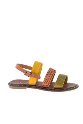 Bambi Yeşil/taba/sarı Kadın Sandalet L0685082603 1