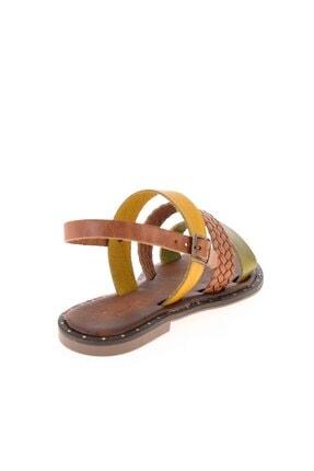 Bambi Yeşil/taba/sarı Kadın Sandalet L0685082603 3
