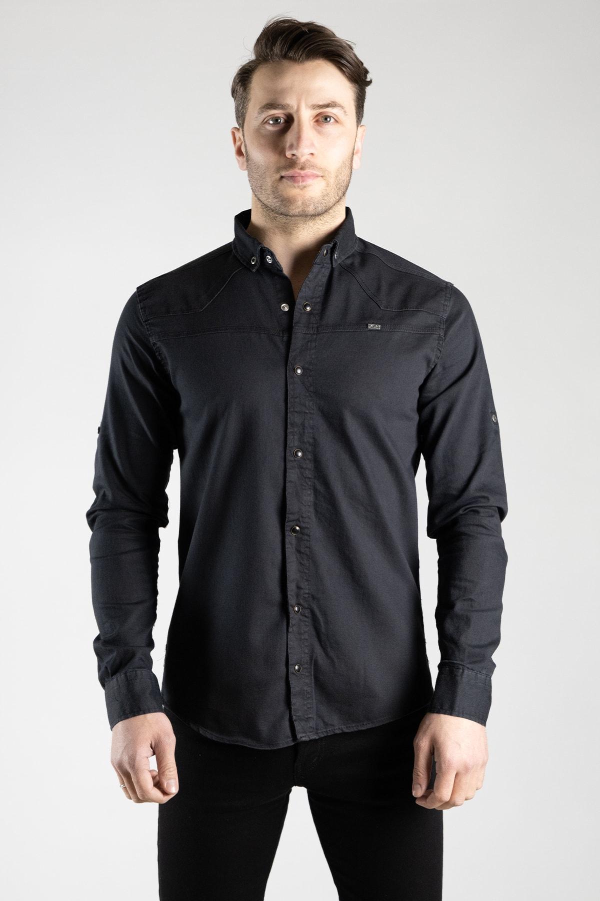 Erkek Siyah Kot Gömlek