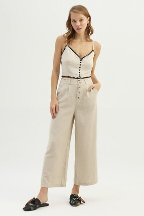 Quzu Kadın Naturel Keten Bol Pantolon 2