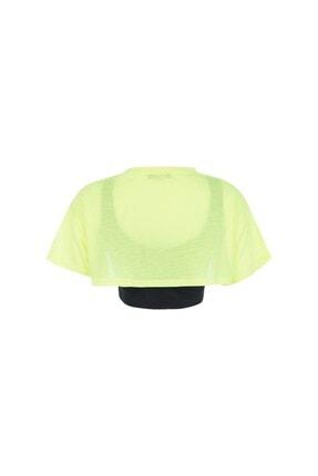 Quzu Kadın Sarı Neon Baskılı Crop Tişört 1