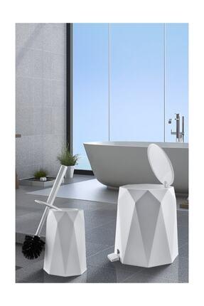 Elif Geo 2'li Banyo Seti (Plastik 5 lt Çöp Kovası Ve Tuvalet Fırçası Taş Rengi) 4