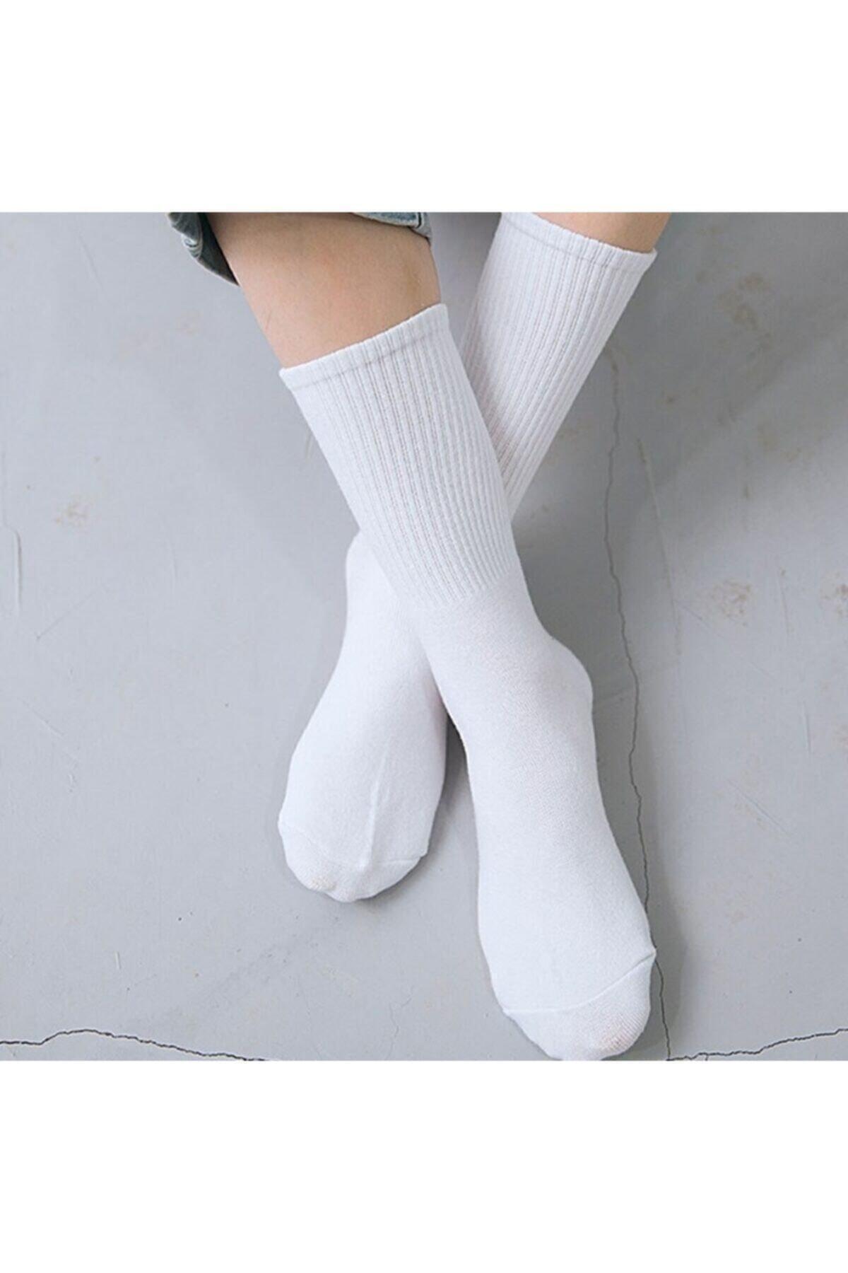 6'lı Düz Beyaz Kolej Çorap