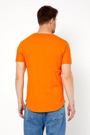 Tarz Cool Erkek Koyu Turuncu Pis Yaka Salaş T-shirt-tcps001r52m 3