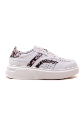 GRADA Kadın Beyaz  Hakiki Deri Yüksek Taban Bağcıklı Sneaker Ayakkabı 1